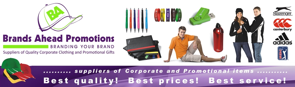 Designs Ahead Corporate Branded Promotional Items. Brands ahead. Suppliers of corporate and promotional clothing as well as caps, pens, bags, keyrings, umbrellas etc.  Embroidered garments and headwear. Promotional gifts, corporate gifts. Computer gadgets. Kids clothing.  Work wear - branded safety wear, t-shirts, jackets, shirts, Hospitality clothing - chefs clothing, aprons. Barron Clothing.  Corporate gifts and clothing. T Shirt printing. Embroidery. Promotional clothing. branded ahead cape town, branded caps cape town, branded pens cape town, promotional items cape town, corporate uniforms cape town, branded kids clothes cape town, branded USB cape town, hotel clothing cape town, hotel clothing, hotel uniforms, kitchen uniforms, embroidered caps cape town, embroidered shirts cape town, embroidered logos, embroidered logos cape town, branded t-shirts cape town, branded keyrings cape town, branded keyrings, branded safety wear cape town
