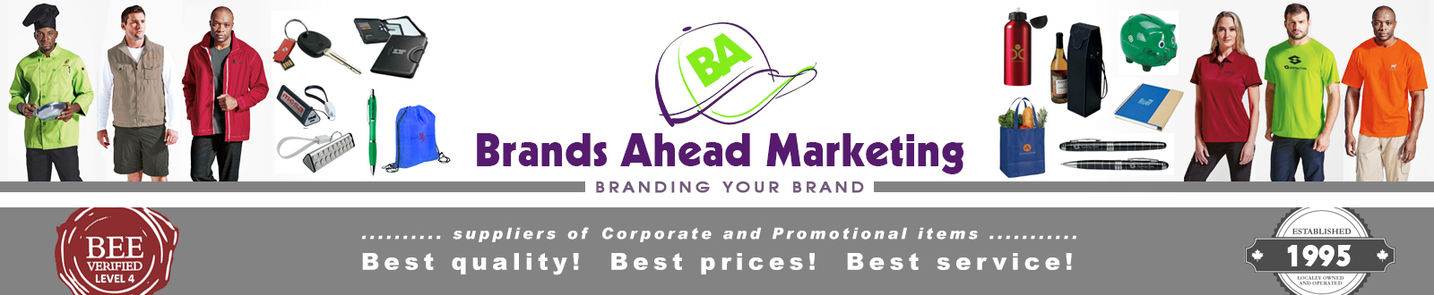 Brands Ahead promotions specialises in Corporate clothing and Promotional gifts for every occasion, albeit for a Sports Team, Church outing or School Tour. We provide professional advice on all aspects of promotional caps, headwear, promotional clothing, embroidery and printing.